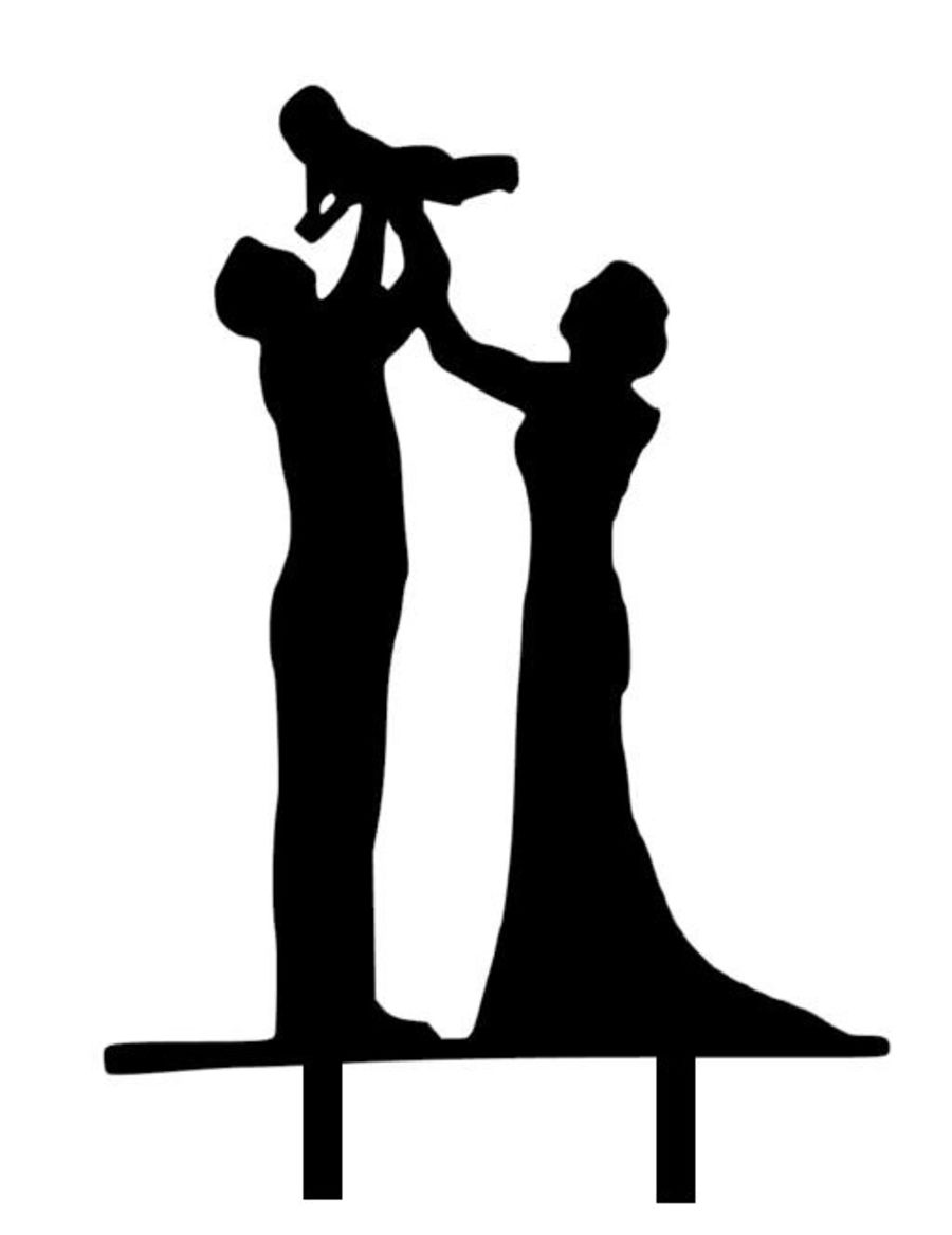Wedding couple with Baby bouncing Acrylic topper