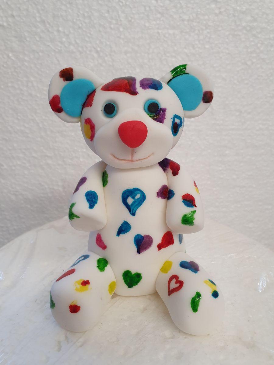 Colourful teddy bear cake or cupcake topper