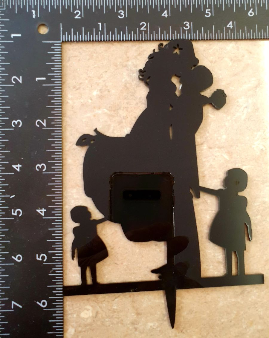 wedding topper 2 girls and bride and groom cake topper black acrylic sale item