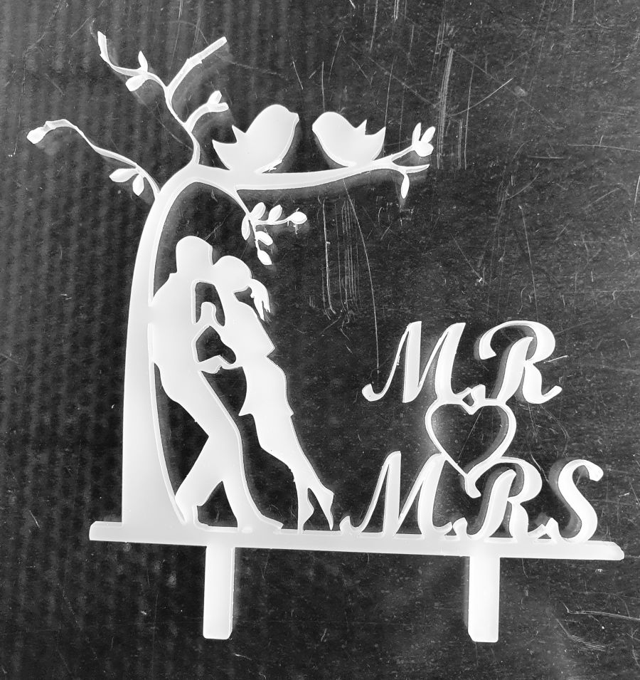 white frost couple by the tree cake topper black acrylic sale item