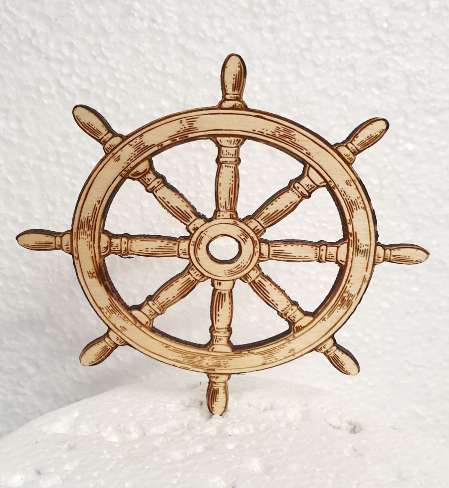 engraved and cut out ships wheel, Wood cake topper