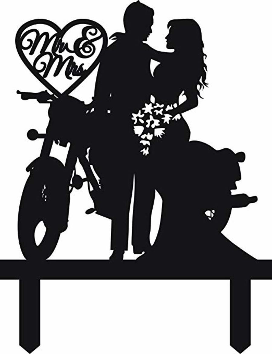 wedding couple with bike and Heart with initials acrylic cake topper