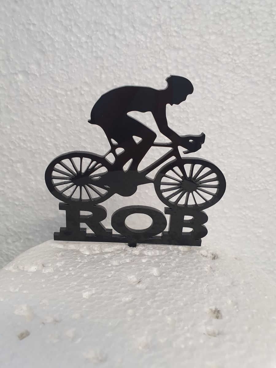 Racing Bicycle with name acrylic cake topper