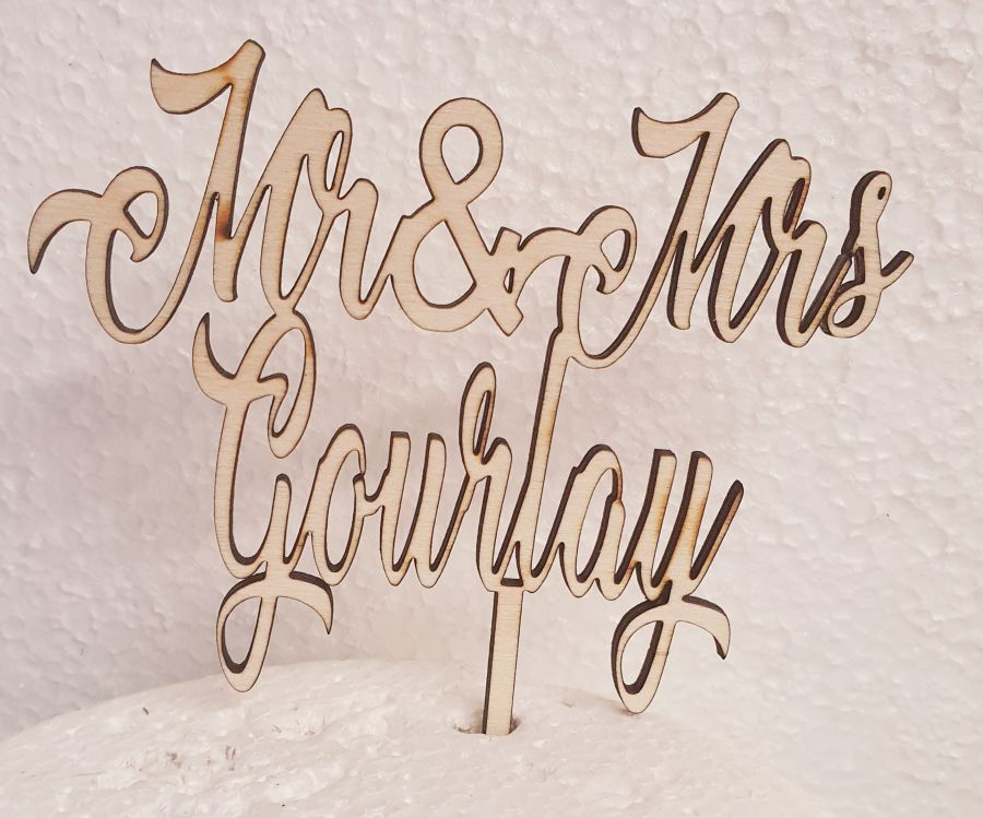 Mr and mrs any colour any name Wood cake topper-m-of-the-heart