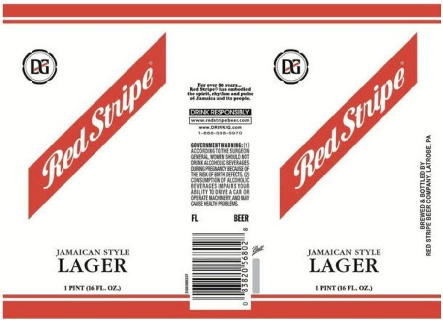 Red stripe can labels Cake topper icing or wafer sheet