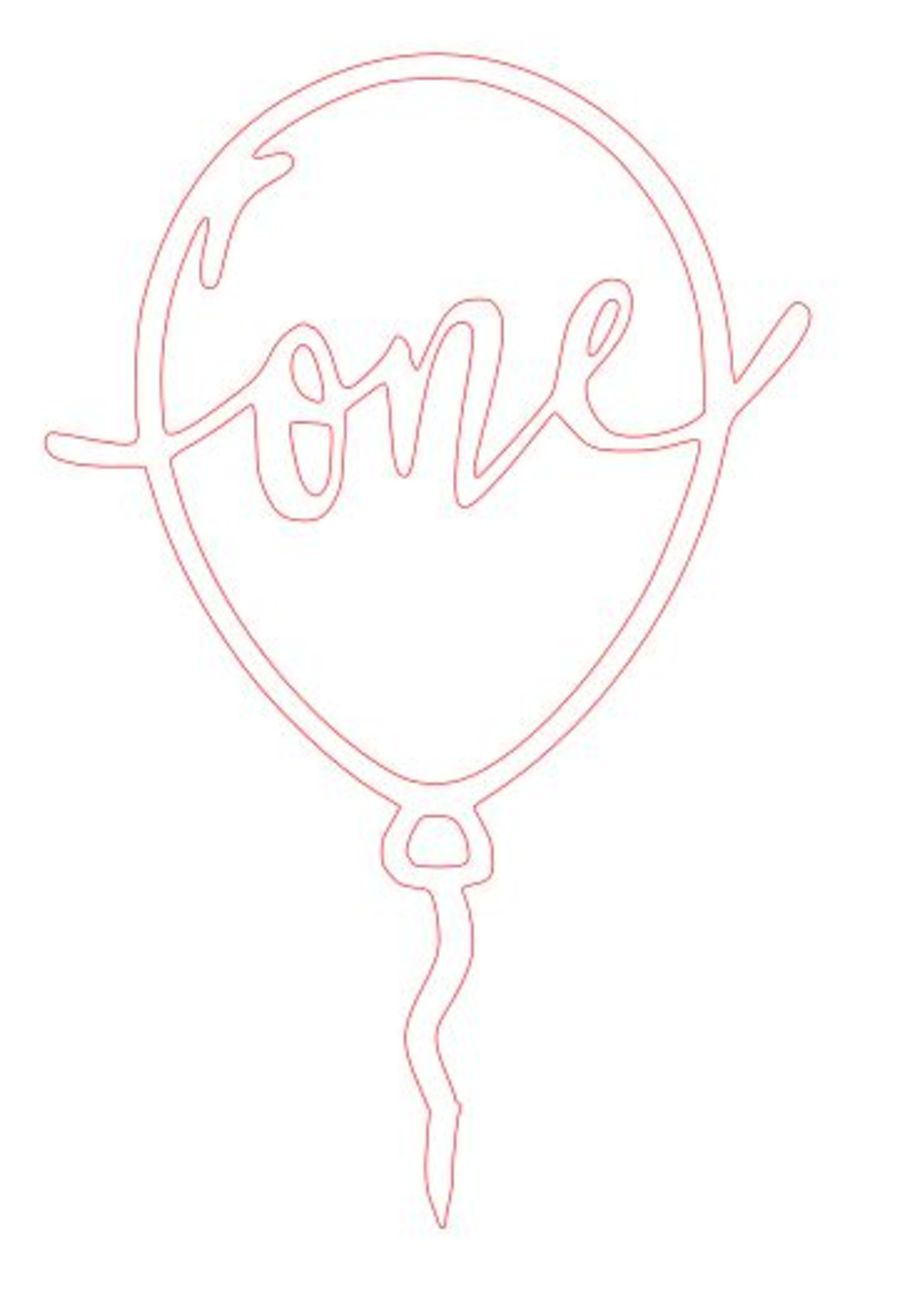 number one inside a balloon Acrylic topper any color
