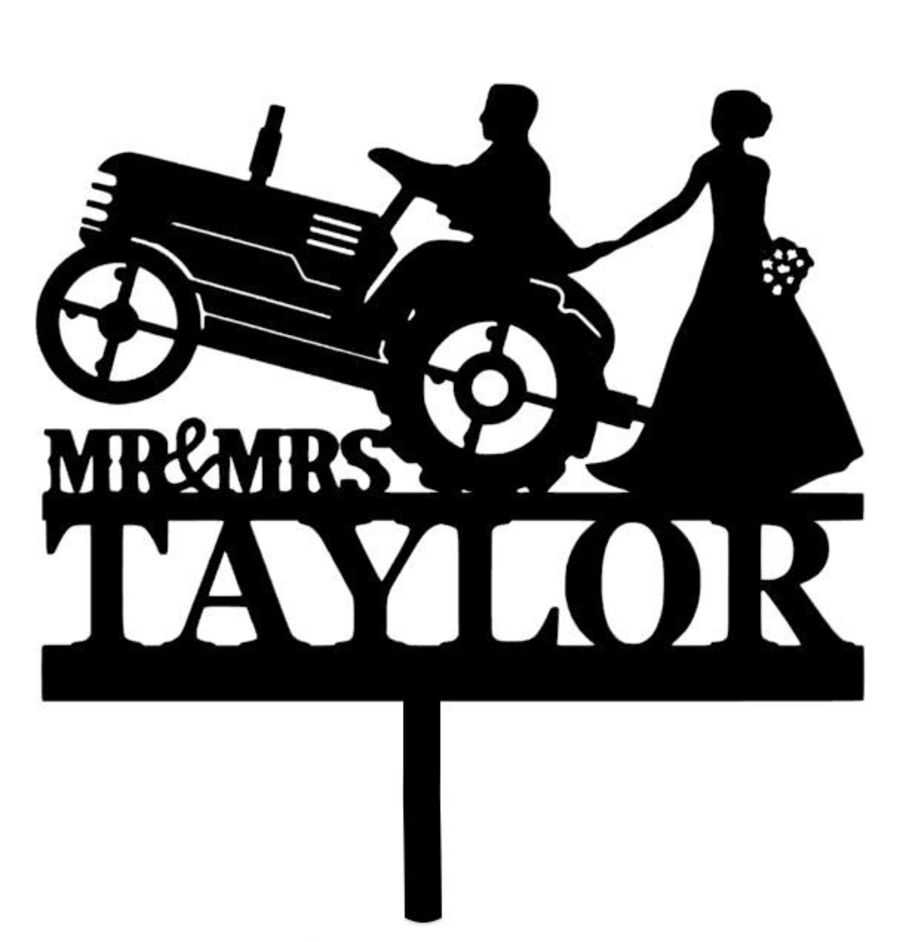 Couple on a tractor acrylic cake topper
