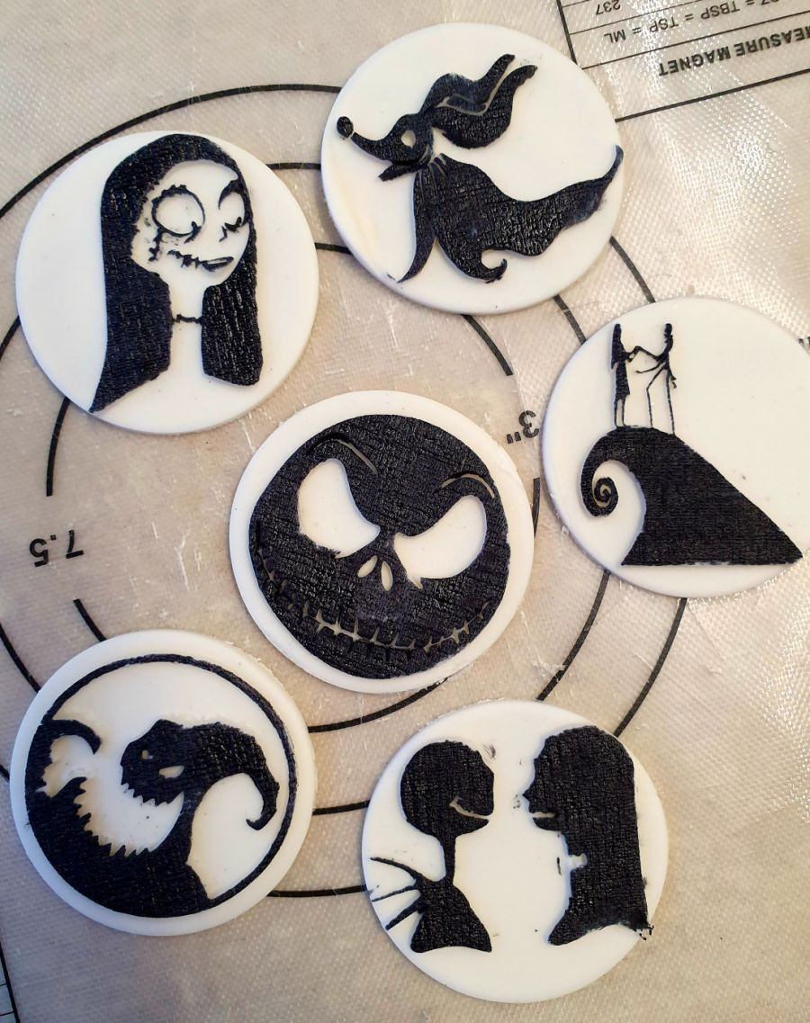 2 inch round stamps, nightmare before christmas fondant boss stamps