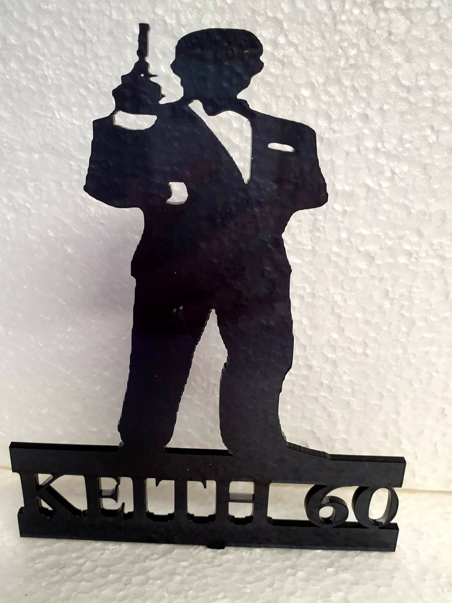 James bond stand up with name acrylic cake topper