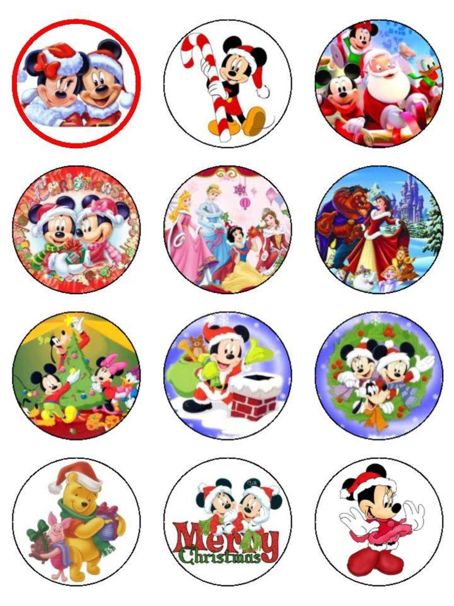 Christmas Disney Cupcake Toppers X 12