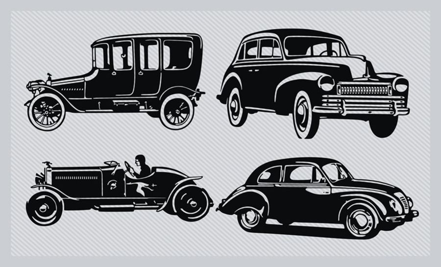 4 Vintage cars cake topper icing sheet or wafer paper