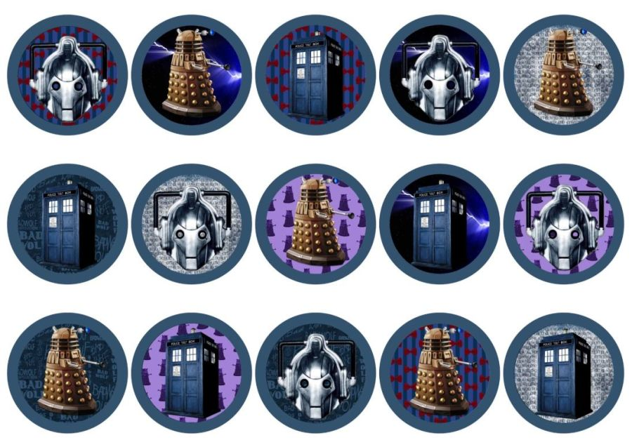 Dr who Cupcake Toppers X 15