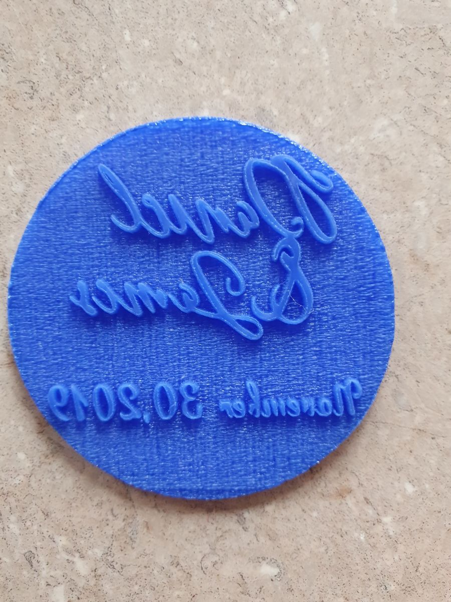Names and date acrylic round Stamp for fondant