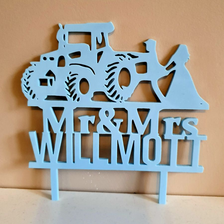 Tractor mr and mrs with name acrylic cake topper