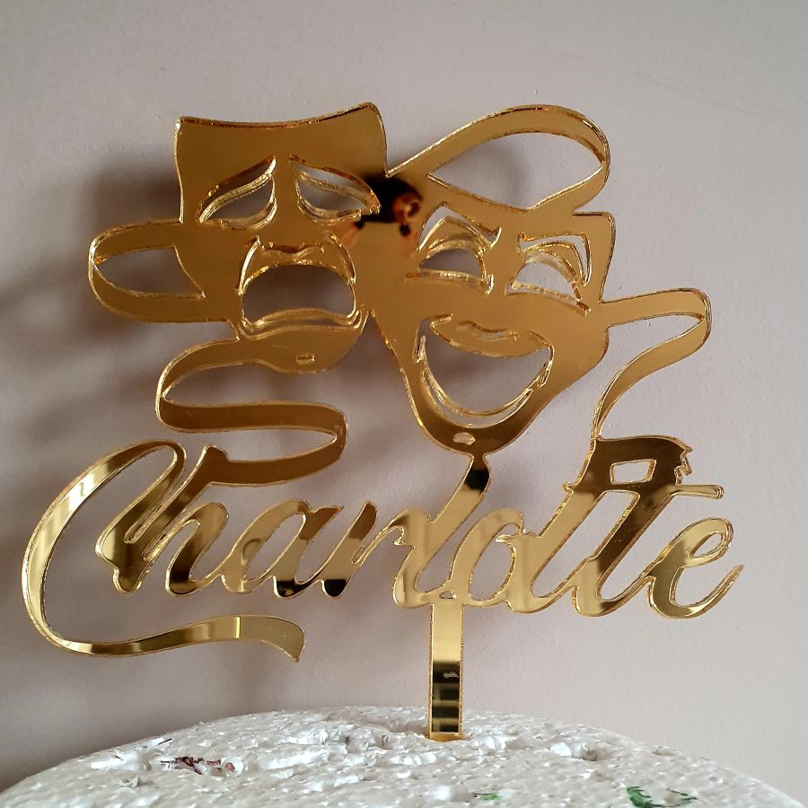 tragedy masks with any name acrylic cake topper