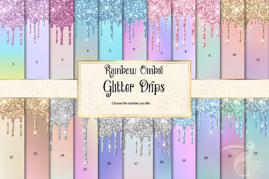 Glitter drip sheets icing or wafer paper sheet A4 size