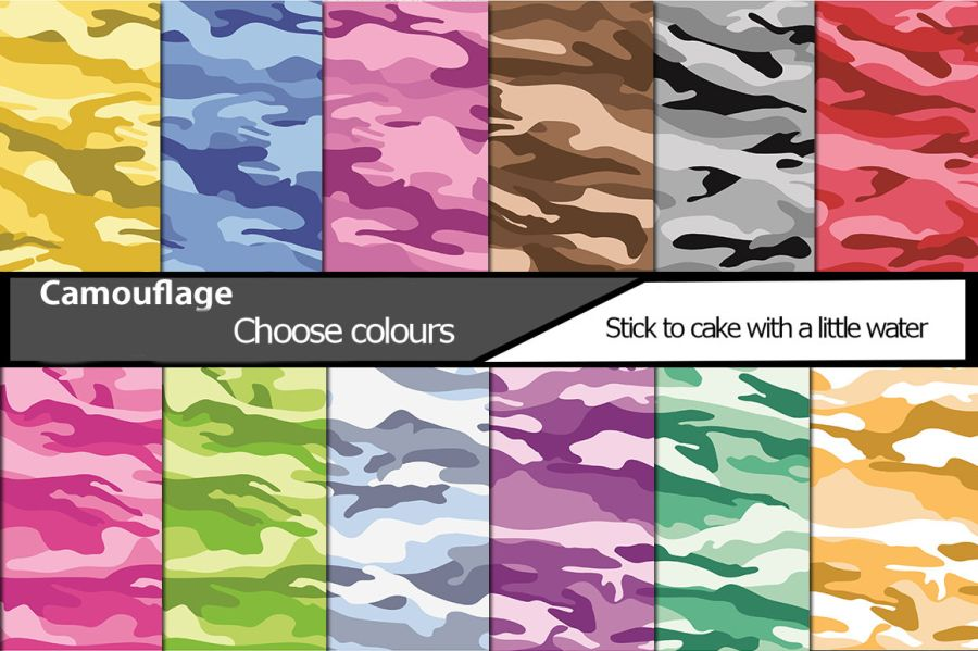 Camouflage sheets icing or wafer paper sheet A4 size