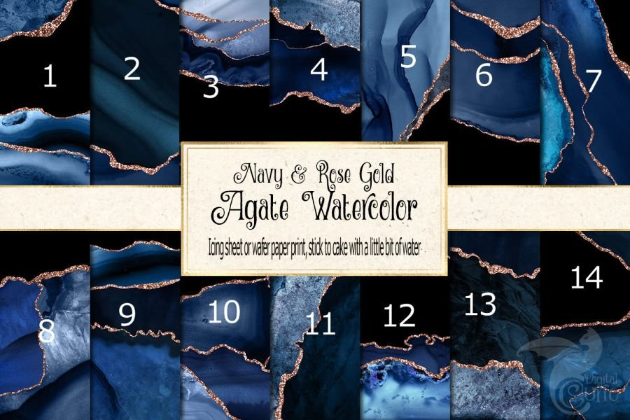 Mix of rose gold and dark blue icing or wafer paper sheet A4 size