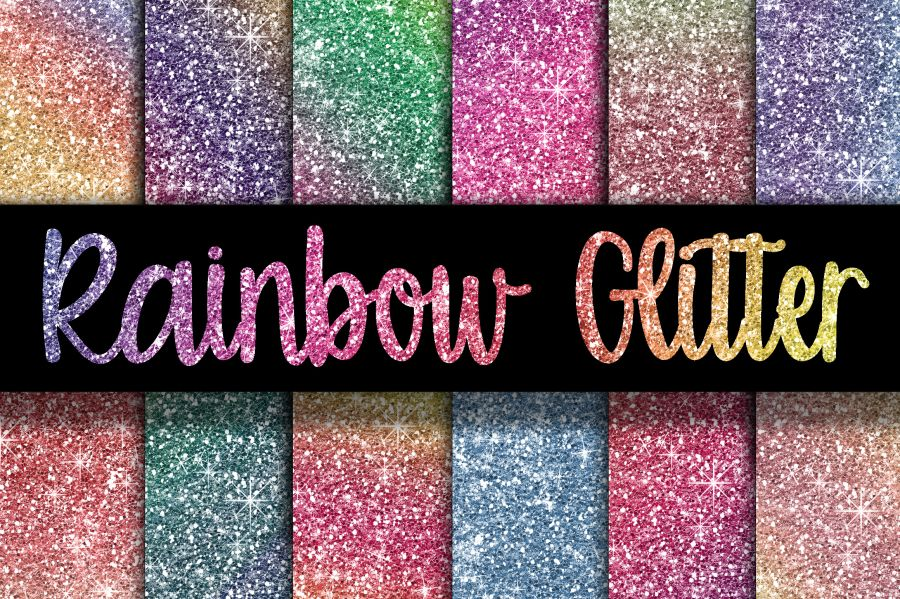 Mix of Rainbow Glitter sheets icing or wafer paper sheet A4 size