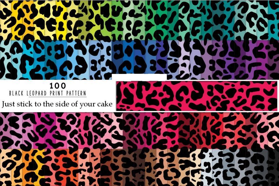 Mix of 100 Leopard Print Patterns sheets icing or wafer paper sheet A4 size