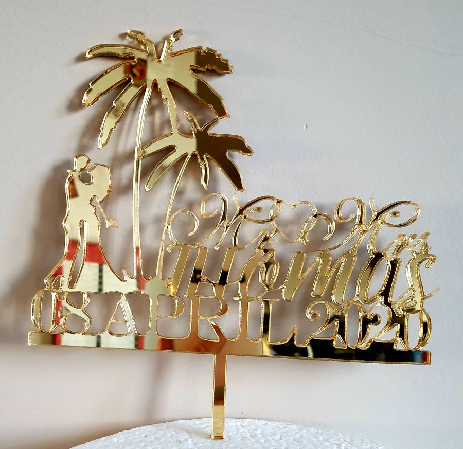 Mr & Mrs palm tree wedding with name acrylic cake topper