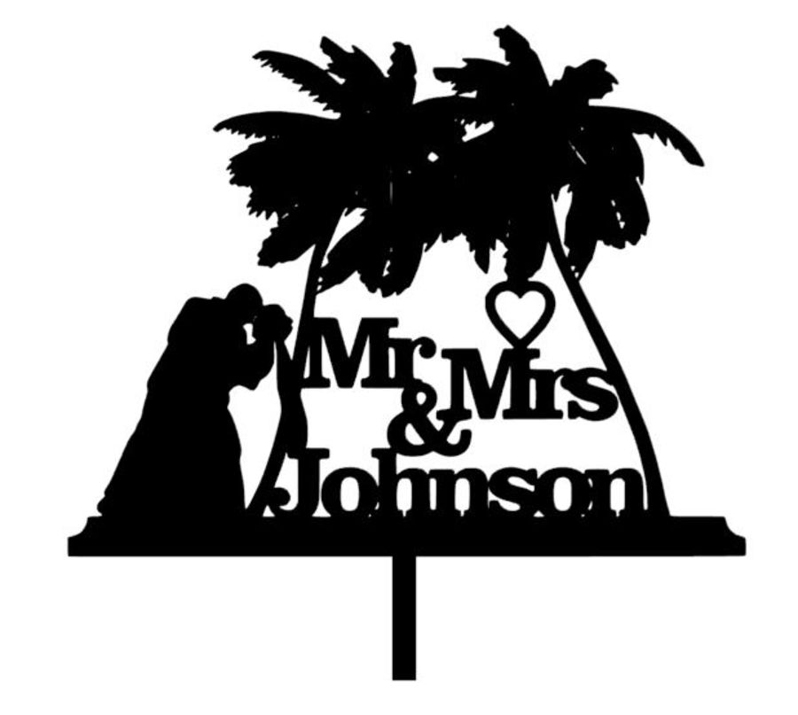 Mr & Mrs leaning palm tree wedding with name acrylic cake topper