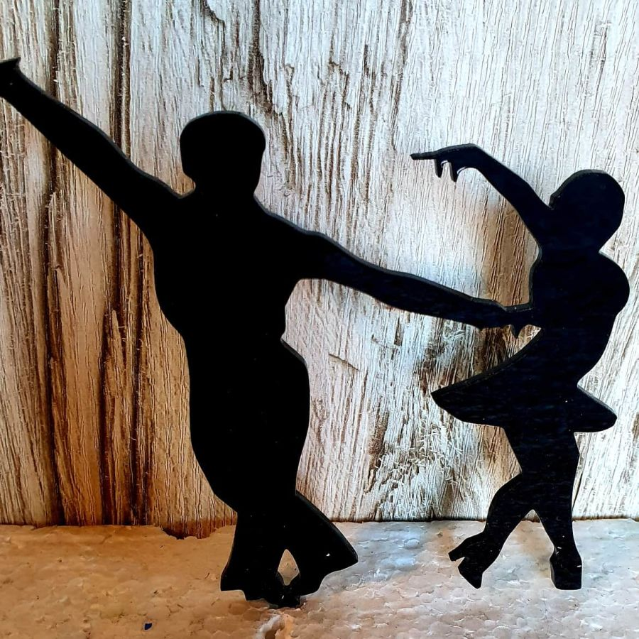 Dancers male and female acrylic cake topper