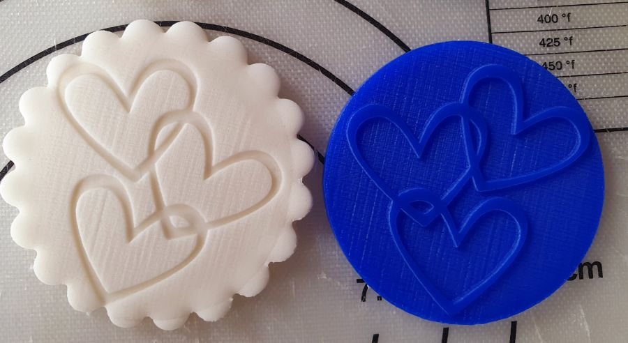 Valentines day Love hearts x 3 acrylic stamp for fondant