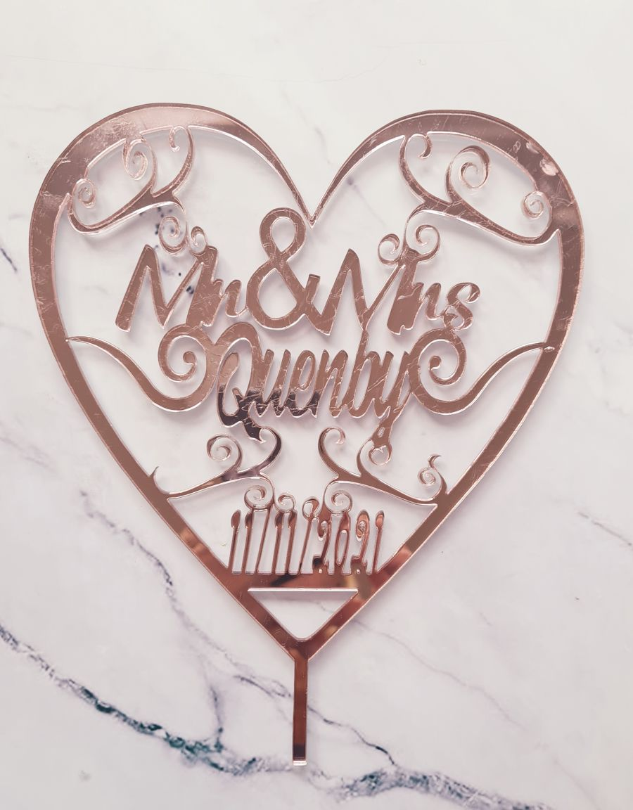 swirl hearts wedding date and name acrylic cake topper