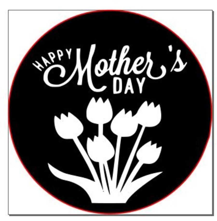 Happy mothers day with bunch of flowers acrylic stamp for fondant