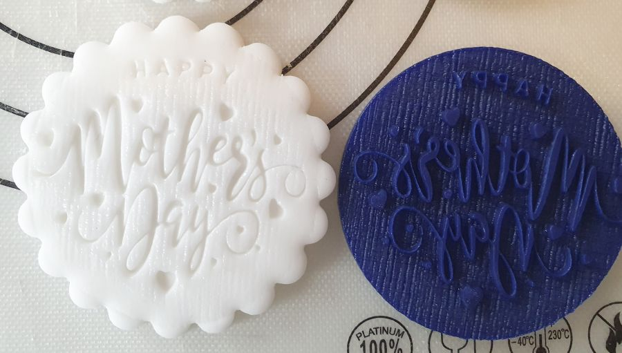 Happy mothers day with little hearts acrylic stamp for fondant