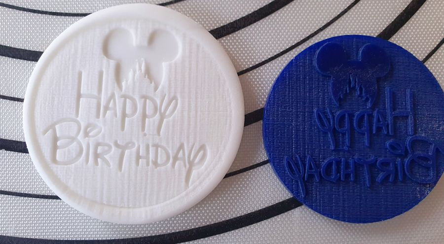 Happy Birthday with castle ears acrylic stamp for fondant
