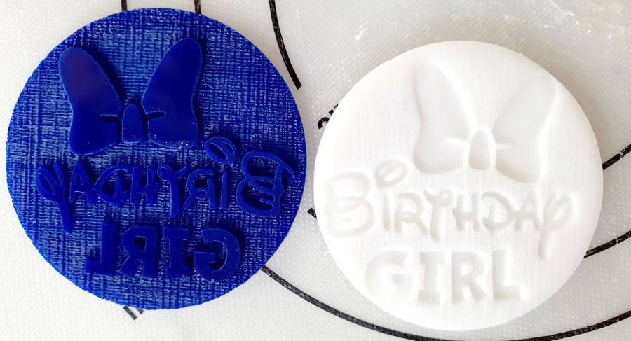 Birthday Girl with bow acrylic stamp for fondant