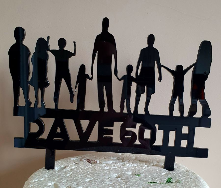 Dad grandad with 8 children all ages acrylic cake topper