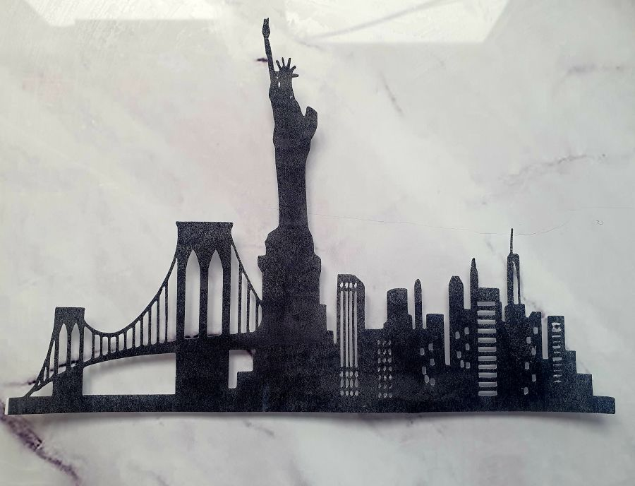 Brooklyn bridge skyline sugar silhouette cut out