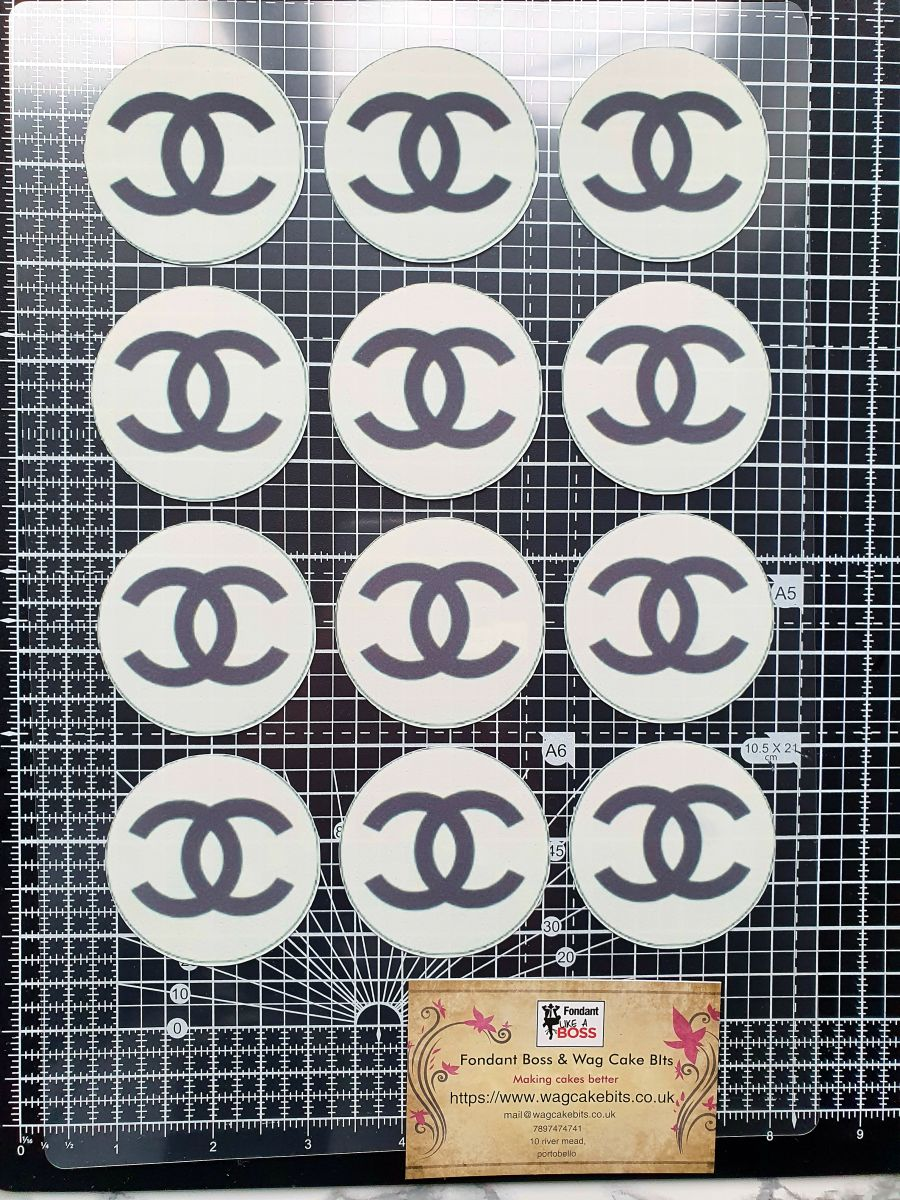 Channel  cupcake toppers x 12 cake decorating