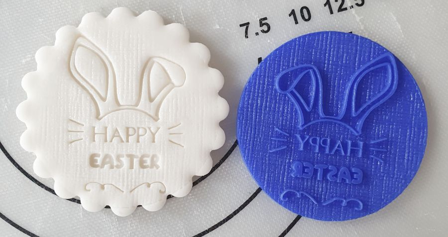 Happy Easter bunny ears Acrylic stamp for fondant