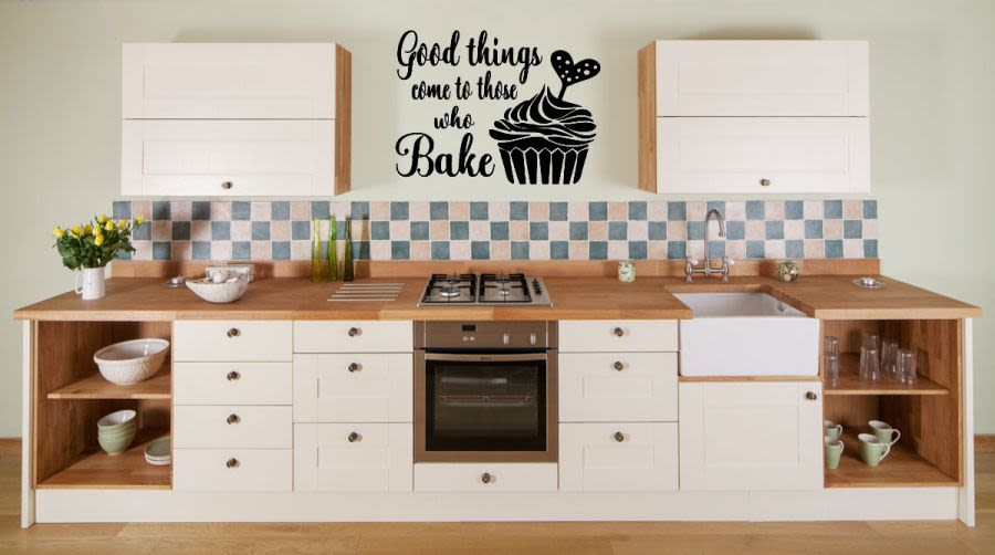 Good things come to those who bake with cupcake vinyl wall art