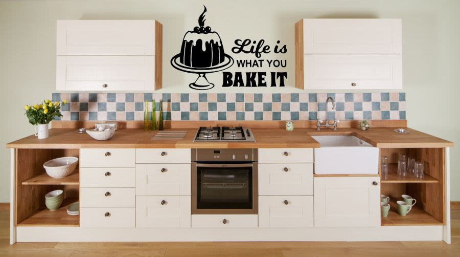 Life is how you bake it with cake vinyl wall art