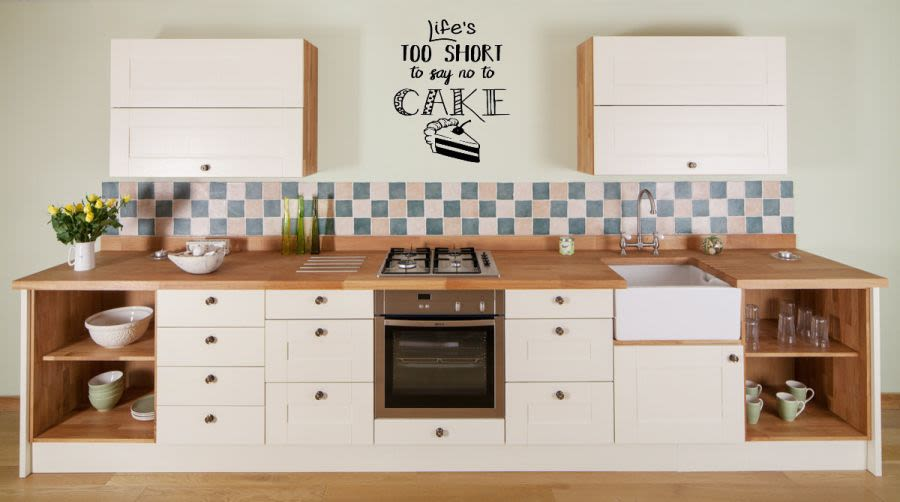 life is 100 short to say no to cake vinyl wall art