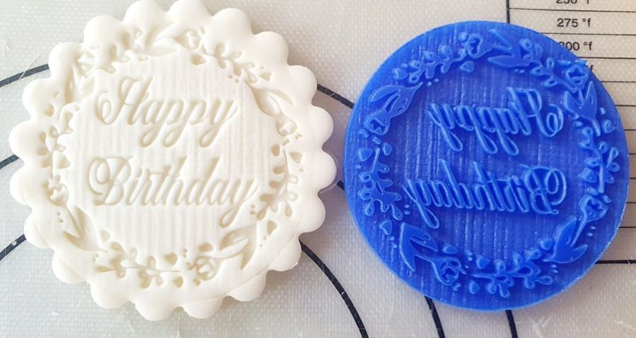 Happy Birthday Floral round it acrylic stamp Out for fondant