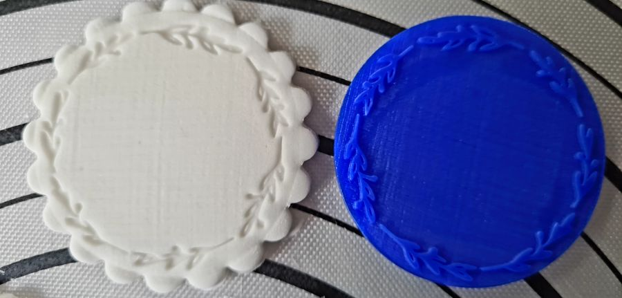 Wreath round plain stamp acrylic stamp for fondant