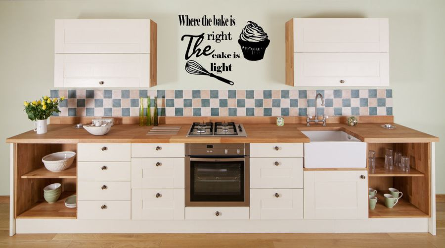 where the bake is right, the cake is light vinyl wall art