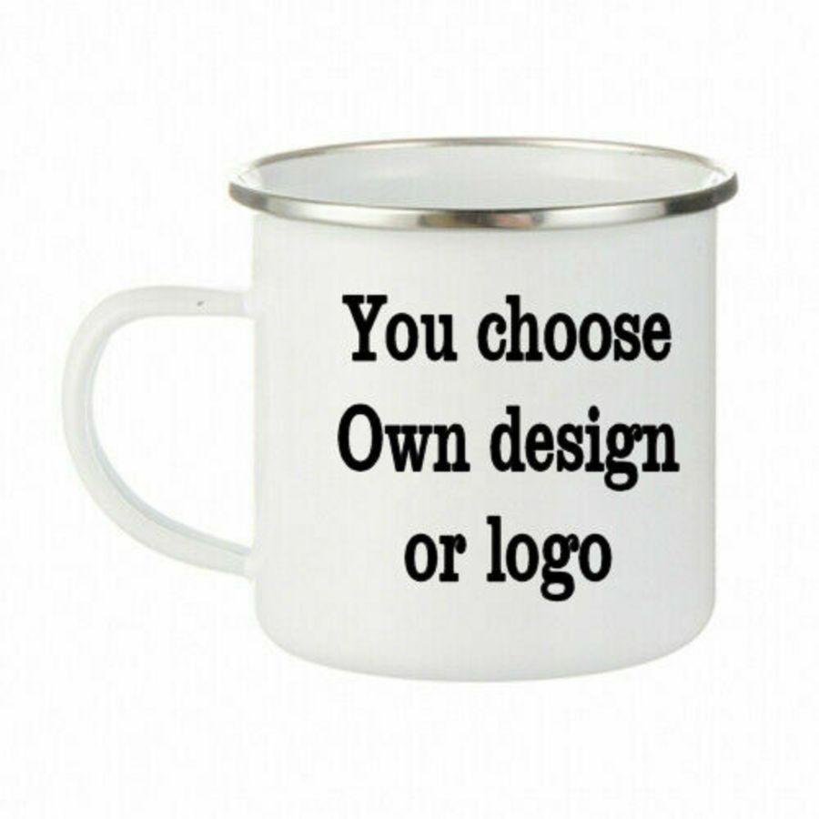 Bespoke Own design, own logo Enamel Mug Stainless Steel Cups