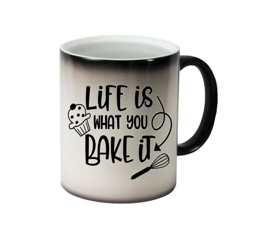 Life is what you bake it with whisk ceramic colour changing Cups