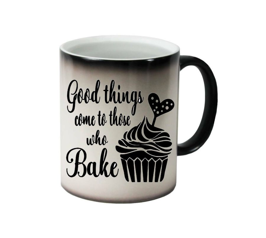 Good things come to those who bake with cupcake ceramic colour changing Cups