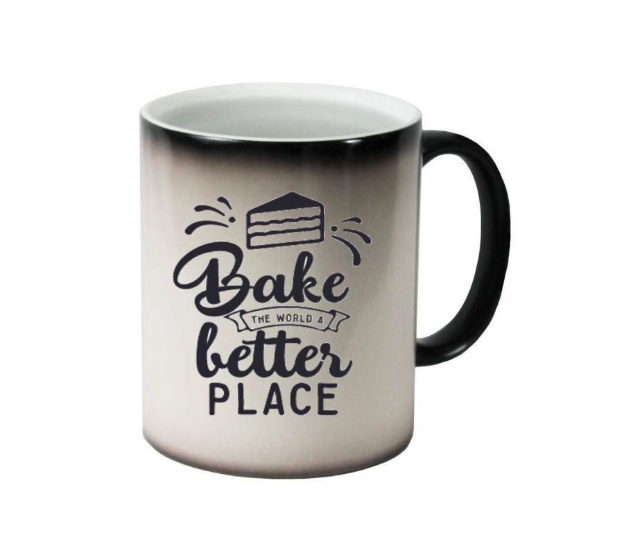 Bake the world a better place ceramic colour changing Cups