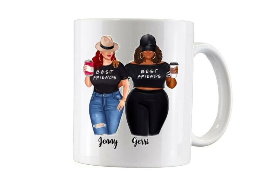 Bespoke Sisters with names under, 2 sided cup