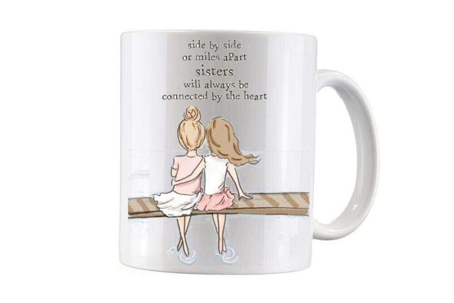 Bespoke connected by heart sisters with names under, 2 sided cup