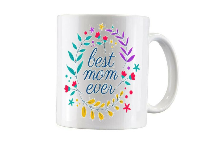 Best mom ever with flowers cup